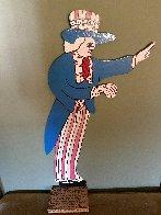 Uncle Sam Wooden Sculpture 1991 11 in Sculpture by Howard Finster - 1