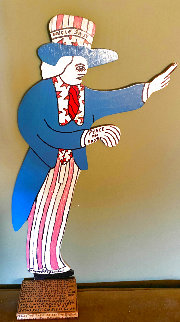 Uncle Sam Wooden Sculpture 1991 11 in Sculpture - Howard Finster