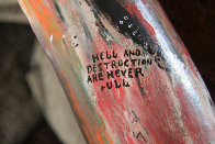 Hell Themed Painted Gourd 49 in Original Painting by Howard Finster - 2