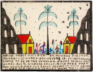 City of Oblin 1993 Original Painting - Howard Finster