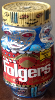 Folgers Coffee Container 1991 Sculpture by Howard Finster