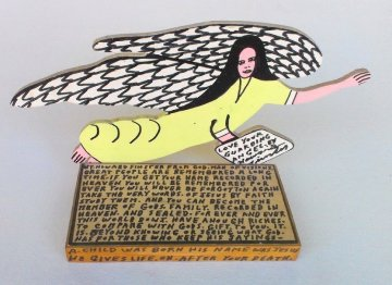 Love Your Guardian Angel Wood Sculpture 11 in Sculpture - Howard Finster
