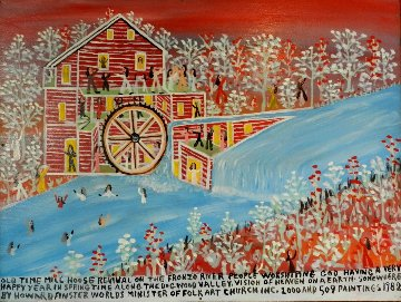 Old Time Mill House Revival 1982 Original Painting - Howard Finster