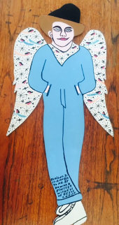 Elvis-At-3-Is-A-Angel-To-Me (With Wings!) 1991 Original Painting by Howard Finster