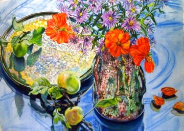 Star Vase and Asters Watercolor 1989 33x46 Watercolor - Janet Fish