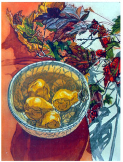 Pears and Autumn Leaves 1988 Limited Edition Print by Janet Fish