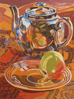Tea Pot And Apple AP Limited Edition Print by Janet Fish