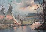 Navajo At Dawn 1985 17x29 Original Painting - Hulan Fleming