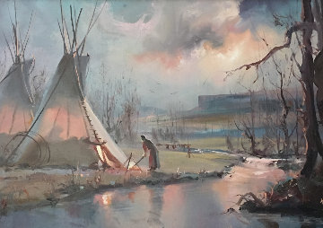 Navajo At Dawn 1985 17x29 Original Painting - Hulan Fleming
