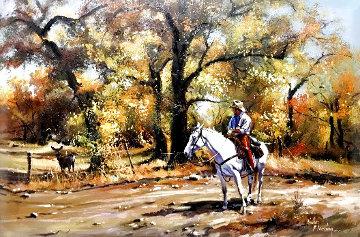 Untitled Western 28x38 Original Painting - Hulan Fleming