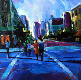 Evening Walks 2006 25x25 Original Painting - Michael Flohr