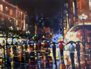 Evening Out 2002 48x60 Huge  Original Painting - Michael Flohr