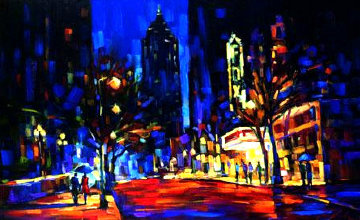 Night At the Fox 2005 Embellished Limited Edition Print by Michael Flohr