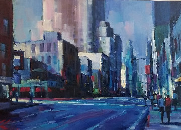 New York Sun 2006 37x61 Original Painting - Michael Flohr
