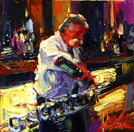 Fred 19x19 Original Painting by Michael Flohr