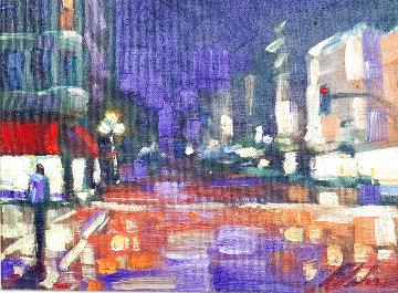 City Street  2004 16x19 Original Painting - Michael Flohr