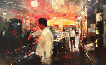 Friday Night Mixed Media 2002 31x47 Huge Original Painting - Michael Flohr