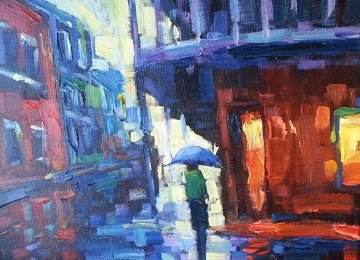 Out in the Rain 2004 18x21  Original Painting by Michael Flohr
