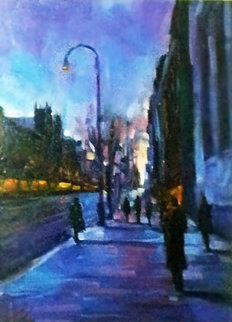 City Sidewalks - Chelsea, New York 2006 42x35 Original Painting - Michael Flohr