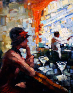 Melissa At the Bar  2002 40x34 Original Painting - Michael Flohr