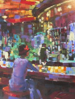 Mel At the Bar 2003 Embellished Limited Edition Print by Michael Flohr