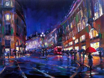 London Rain Embellished Limited Edition Print by Michael Flohr