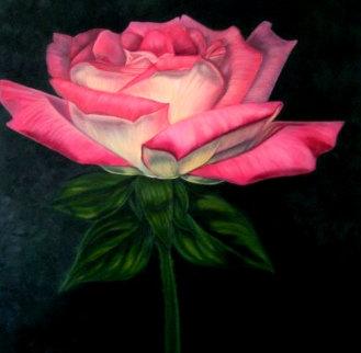 Balerina - Rose 2019 38x38 Original Painting - Claire Fontaine