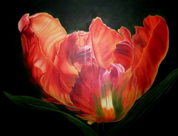 Eclosion - Tulip Rococo 2020 36x48 Original Painting by Claire Fontaine