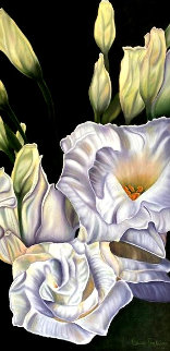 Fascination-lisianthus 2020 40x22 Original Painting - Claire Fontaine