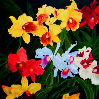 Jardin De Mauï 1 - Mixt Orchids 2020 48x48 Original Painting - Claire Fontaine