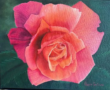 La Vie En Rose - Rose 2020 24x28 Original Painting - Claire Fontaine