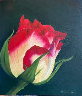 Lumineuse - Bouton De Rose 2019 30x26 Original Painting - Claire Fontaine