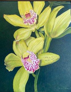 Soleil Couchant - Orchids 2020 44x38 Original Painting - Claire Fontaine