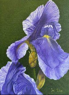 Vent Champêtre - Iris Versicolor 2020 32x26 Original Painting - Claire Fontaine