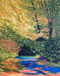 Landscape Study - Pointillisme 2019 20x16 Original Painting - Claire Fontaine