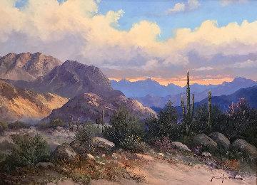 Untitled Landscape 1995 34x48 Huge  Original Painting - Caroll Forseth