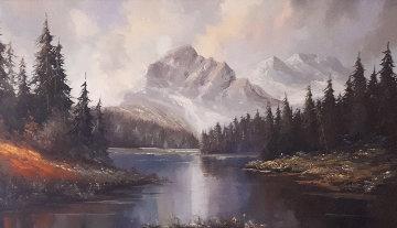 Untitled Landscape 1970 30x54 Matterhorn Super Huge Original Painting - Caroll Forseth