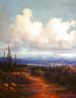 View From Ocatillo Hill Looking Down to Cave Creek 40x35 Huge Original Painting - Caroll Forseth