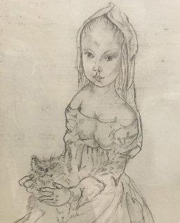 Jeune Femme a La Coiffe Avec Un Chat Drawing 2008 15x9 Drawing - Tsuguharu Foujita