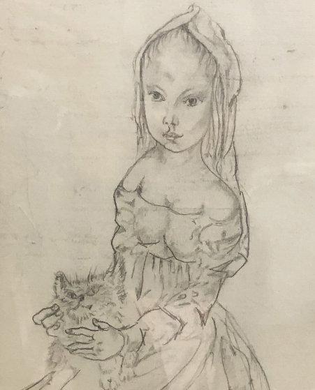 Jeune Femme a La Coiffe Avec Un Chat Drawing 2008 15x9 Drawing by Tsuguharu Foujita