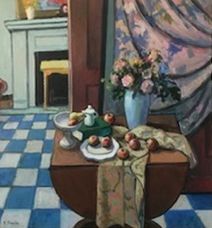 Interior With Still Life  40x40 Original Painting - Robert Frame