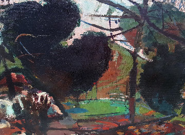 Untitled Landscape 1950 48x24 Original Painting - Robert Frame
