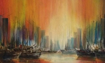 City Seascape 1970 35x59 Original Painting - Ozz Franca
