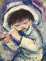 Blue Boy With Flute 24x36 Original Painting - Ozz Franca