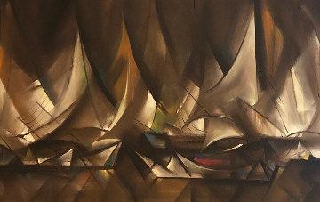 Sailboats 1964 32x55  Huge Original Painting - Ozz Franca