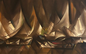 Sailboats 1964 32x55  Super Huge Original Painting - Ozz Franca