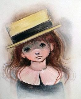 Big Eyed Girl 28x24 Original Painting by Ozz Franca