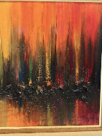 Manhattan Skyline With Burning Ships 1969 36x60 Super Huge Original Painting by Ozz Franca - 2