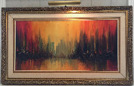 Manhattan Skyline With Burning Ships 1969 36x60 Huge Original Painting by Ozz Franca - 1