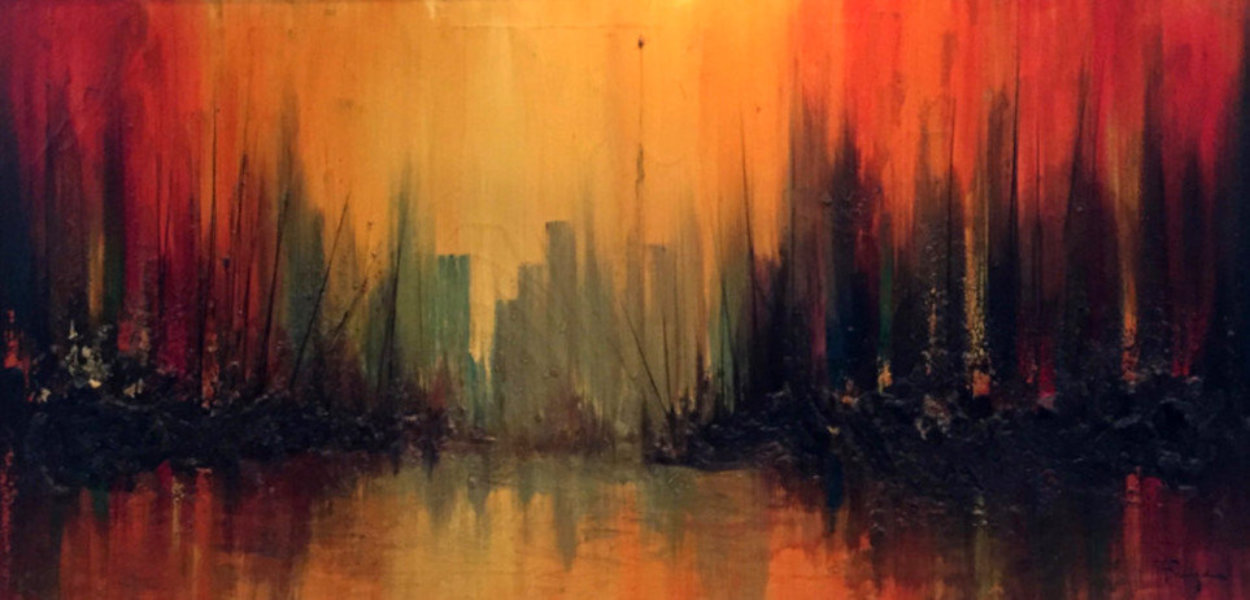 Manhattan Skyline With Burning Ships 1969 36x60 Super Huge Original Painting by Ozz Franca